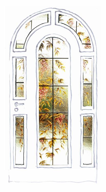 Türverglasung Glycinie | Entwurf: Wiltrud Vogt